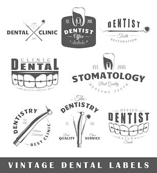 Conjunto de etiquetas de dentista vintage