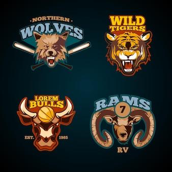 Conjunto de etiquetas deportivas con cabezas de animales.