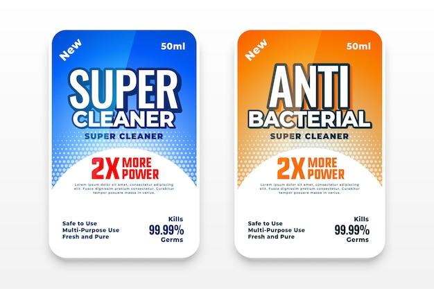 Conjunto de etiquetas de detergente y antibacteriano.