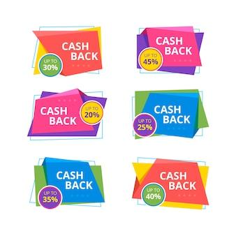 Conjunto de etiquetas de devolución de dinero