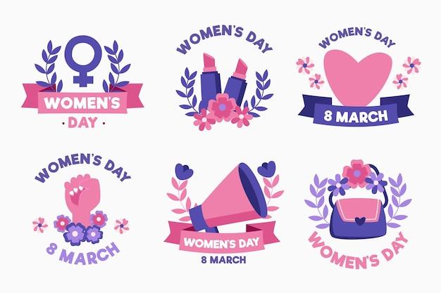Conjunto de etiquetas del día internacional de la mujer dibujadas a mano