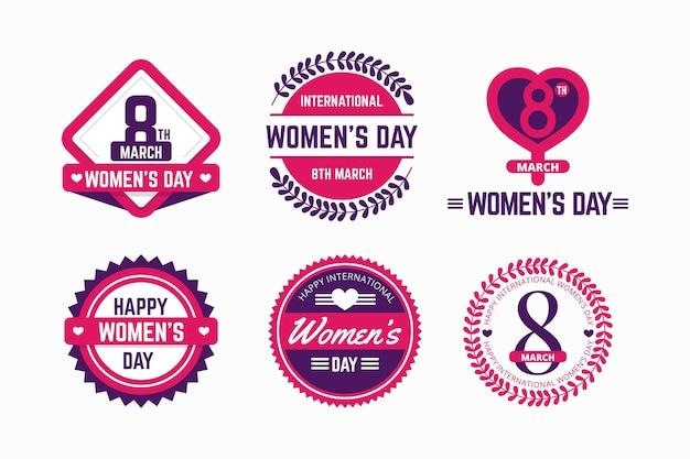 Conjunto de etiquetas del día internacional de la mujer de diseño plano
