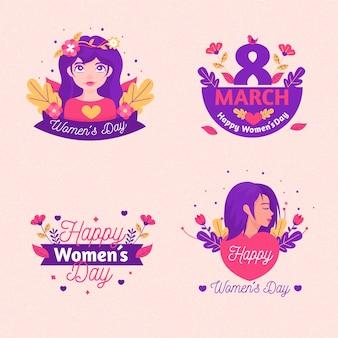 Conjunto de etiquetas del día internacional de la mujer.