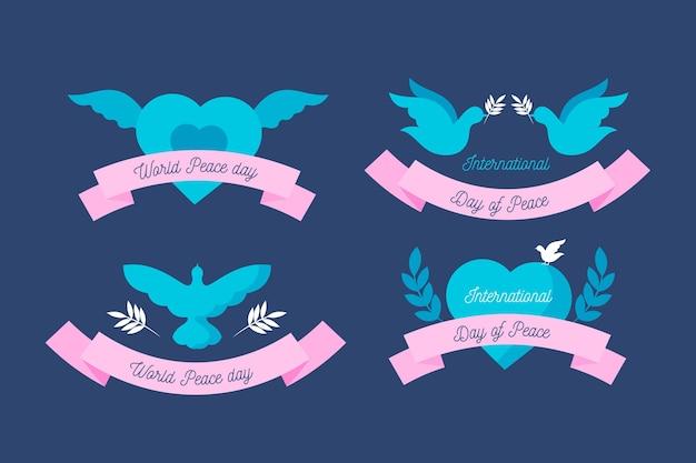 Conjunto de etiquetas del día internacional de la paz