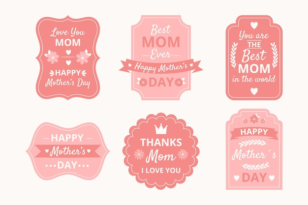 Conjunto de etiquetas del día de la madre dibujadas a mano