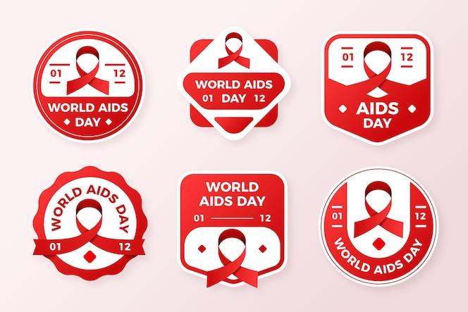 Conjunto de etiquetas del día mundial del sida.