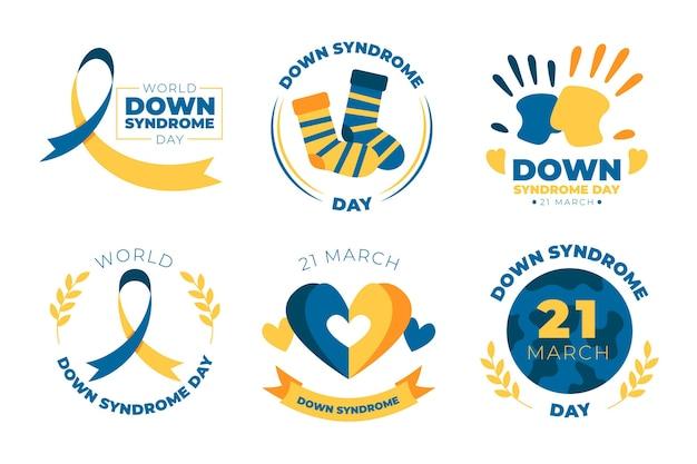 Conjunto de etiquetas del día mundial del síndrome de down dibujadas a mano