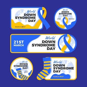 Conjunto de etiquetas del día mundial del síndrome de down