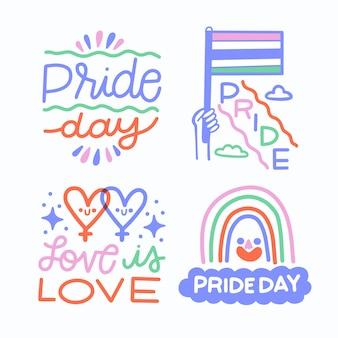 Conjunto de etiquetas del día del orgullo