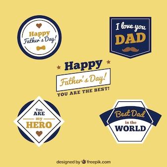 Conjunto de etiquetas de día del padre con elementos planos