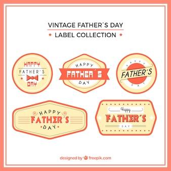 Conjunto de etiquetas de día del padre con elementos planos vector gratuito
