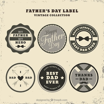Conjunto de etiquetas de día del padre en estilo vintage