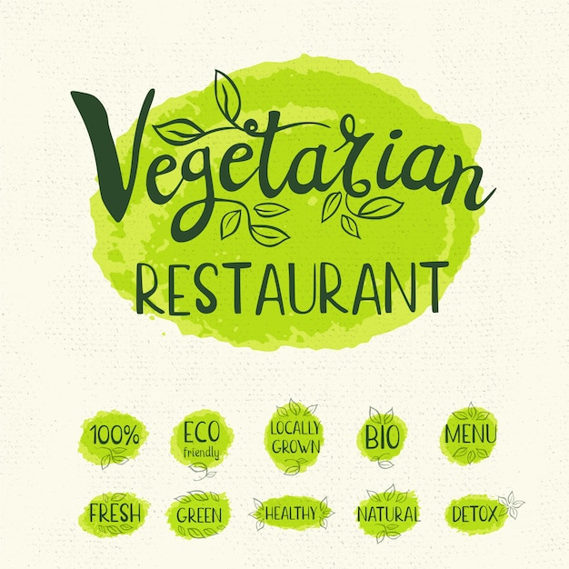 Conjunto de etiquetas dibujadas a mano alimentos, especias.