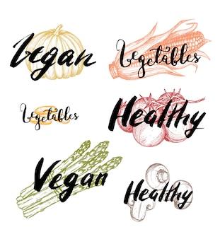 Conjunto de etiquetas dibujadas a mano de comida vegana saludable