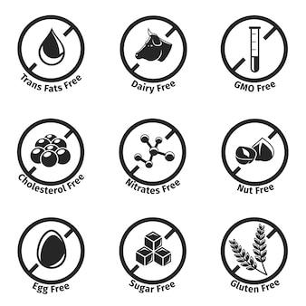 Conjunto de etiquetas dietéticas.