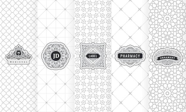 Conjunto de etiquetas de diseño, logotipo y embalaje de marco.