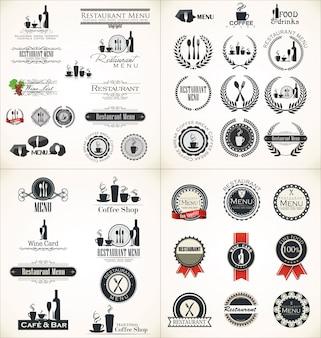 Conjunto de etiquetas para el diseño del menú del restaurante