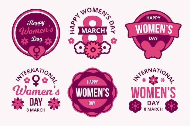 Conjunto de etiquetas de diseño plano del día internacional de la mujer