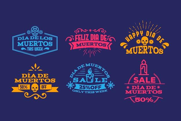 Conjunto de etiquetas de diseño plano del día de los muertos.