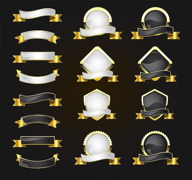 Conjunto de etiquetas y distintivos de calidad