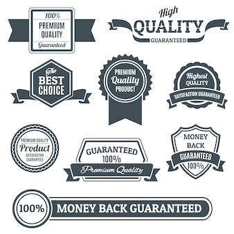 Conjunto de etiquetas y distintivos de calidad.