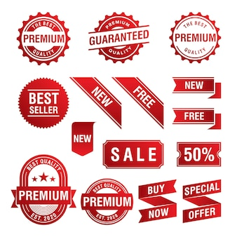 Conjunto de etiquetas e insignias de promoción de oferta especial.