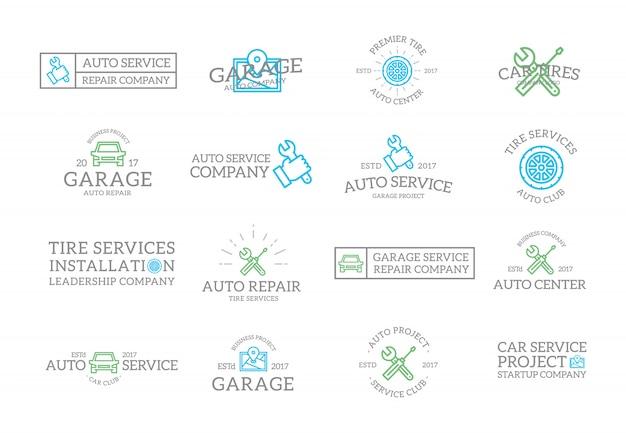 Conjunto de etiquetas e insignias de servicio de autos antiguos,