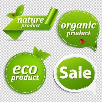 Conjunto de etiquetas ecológicas verdes con malla de degradado, ilustración