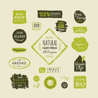 Conjunto de etiquetas y elementos de alimentos orgánicos