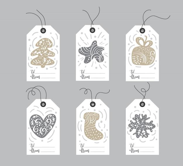 Conjunto de etiquetas de elementos de navidad dibujados a mano
