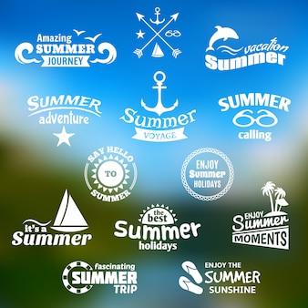 Conjunto de etiquetas de elementos de verano