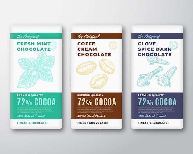 El conjunto de etiquetas de embalaje abstracto de chocolate más fino original. tipografía moderna y menta dibujada a mano y granos de café con diseños de fondo de silueta de boceto de especias de clavo.