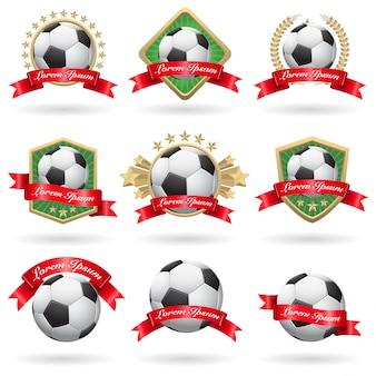 Conjunto de etiquetas y emblemas de fútbol.