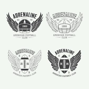 Conjunto de etiquetas, emblemas y logotipos de rugby y fútbol americano vintage