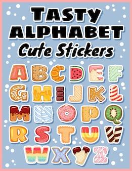 Conjunto de etiquetas engomadas sabrosas del alfabeto.