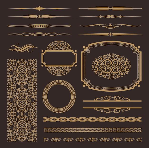 Conjunto de etiquetas enmarcadas vintage, bordes, patrones, adornos y otra decoración