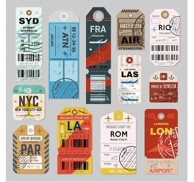 Conjunto de etiquetas de equipaje