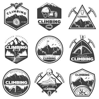 Conjunto de etiquetas de escalada de montaña monocromo vintage