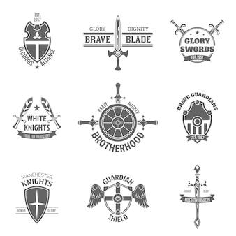 Conjunto de etiquetas de escudo heráldico