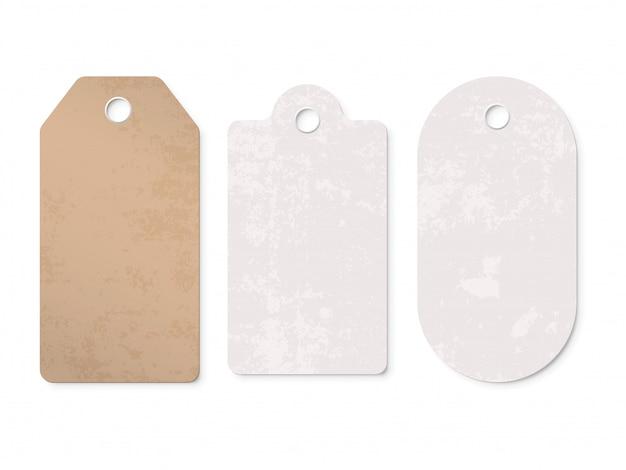 Conjunto de etiquetas de etiqueta de precio. venta cartón papel regalo precio en blanco etiqueta aislado