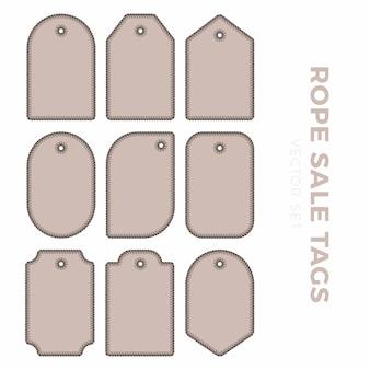 Conjunto de etiquetas de etiqueta de regalo en blanco para precios de venta con contorno de cuerda. marco de cuerda pegatinas de diferentes formas redondas, cuadradas, rectangulares