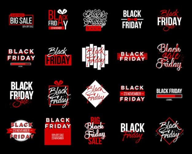 Conjunto de etiquetas de etiqueta de venta de viernes negro, diseño de plantilla.
