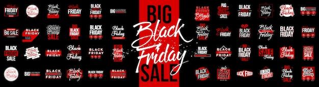 Conjunto de etiquetas de etiqueta de venta de viernes negro