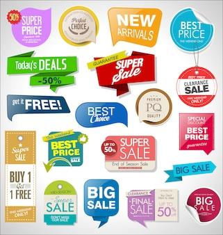Conjunto de etiquetas, etiquetas, cintas y distintivos de venta.