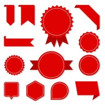Conjunto de etiquetas y etiquetas rojas
