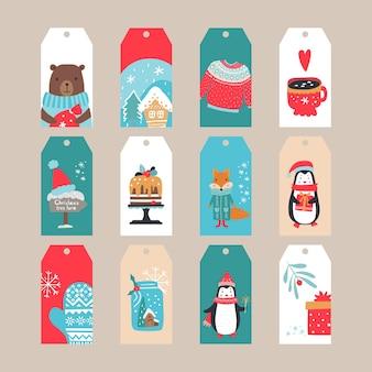 Conjunto de etiquetas de feliz navidad. ilustración. colección de etiquetas festivas