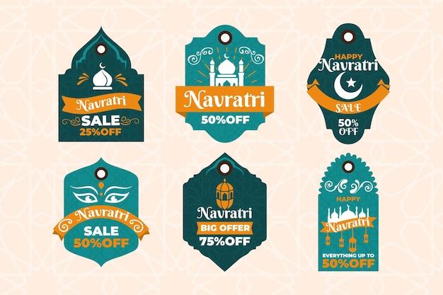 Conjunto de etiquetas del festival navratri