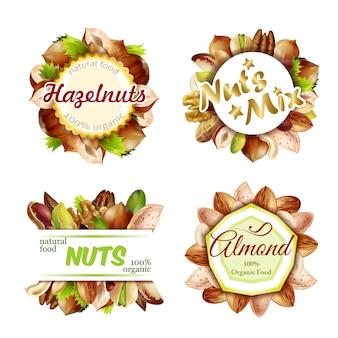 Conjunto de etiquetas de frutos secos naturales coloridos premium