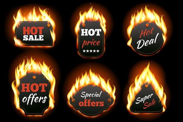 Conjunto de etiquetas de fuego.