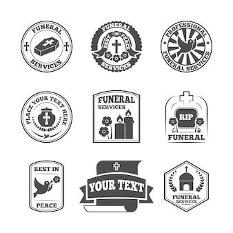 Conjunto de etiquetas funerarias